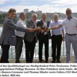 Zusammen mit dem Präsidenten der IG-Bier Alois Gmür sowie den Schaffhauser Ständeräten Hannes Germann und Thomas Minder am Treffen der unabhängigen Bierbrauereien der Schweiz vom 28.07.2016 am Rheinfall (Foto: Michael Kessler)